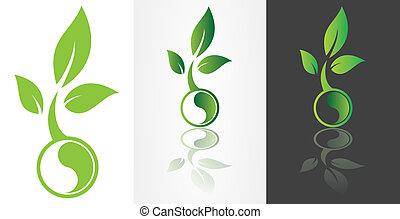 ying yang symbolism with green leaf