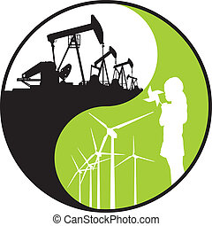 illustration contrast classic fossil energy and green, renewable energy.