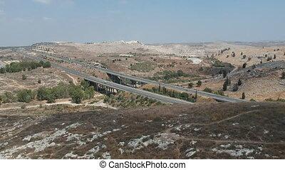 Yitzhak Rabin Highway aerial shot shot clip