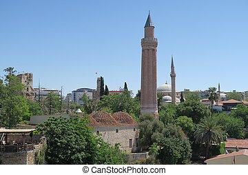 yivli, minare, mezquita, es, un, señal, en, antalyas, oldtown, kaleici, pavo