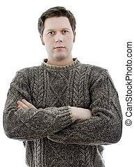 ylle, sweater, vapen, isolerat, white., man, crossed.