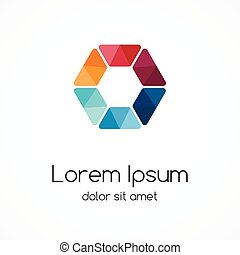 ymbol., kleur, logo, zeshoek, element, template.