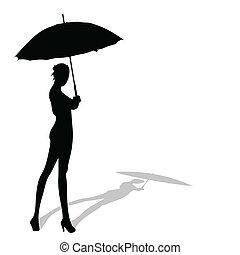 ymbrella, posierend, m�dchen, silhouette, hand