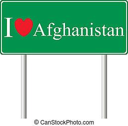 yo, amor, afganistán, concepto, muestra del camino