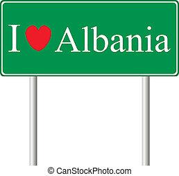 yo, amor, albania, concepto, muestra del camino
