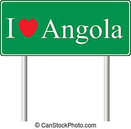 yo, amor, angola, concepto, muestra del camino