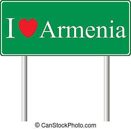 yo, amor, armenia, concepto, muestra del camino