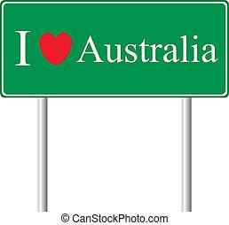 yo, amor, australia, concepto, muestra del camino