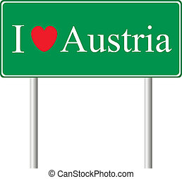 yo, amor, austria, concepto, muestra del camino