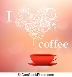 yo, amor, café, concepto