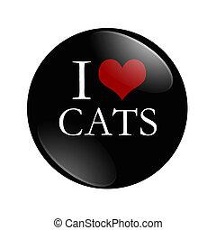 yo, amor, gatos, botón