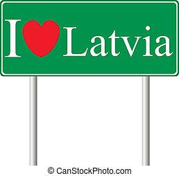yo, amor, letonia, concepto, muestra del camino