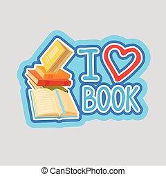 yo, amor, libro, pegatina, social, medios, red, mensaje, insignias, diseño