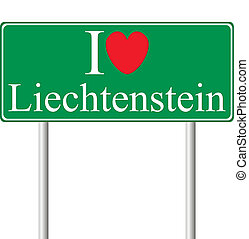 yo, amor, liechtenstein, concepto, muestra del camino