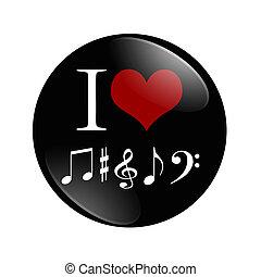 yo, amor, música, botón