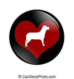 yo, amor, perros, botón