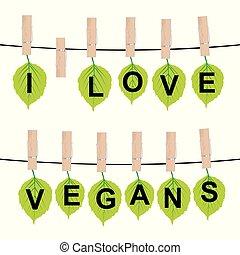 yo, amor, vegans, concepto