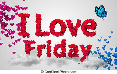 yo, amor, viernes, partículas, corazón rojo