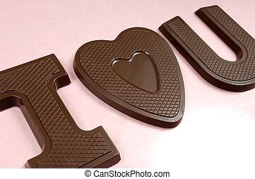 yo, corazón, usted, golosina de chocolate