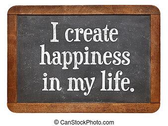 yo, crear, felicidad, en, mi, vida