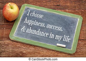 yo, elegir, felicidad, en, mi, vida