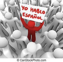 yo, espanol, sinal, pessoa, orador, segurando, espanhol,...