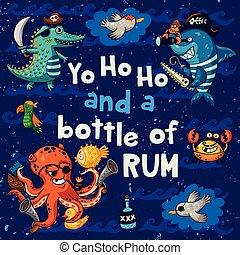 Yo ho ho. Pirate illustration with crocodile, octopus, shark