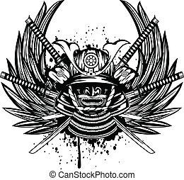 yodare-kake, katana, illustration, samouraï, menpo, vecteur, traversé, ailes, casque