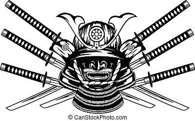 yodare-kake, katanas, 侍, menpo, 交差させる, ヘルメット
