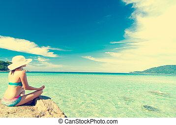 yoga, årgång, filtrera, retro, flicka, strand