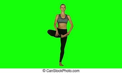 yoga, écran, engagé, arrière-plan., vert, girl