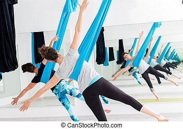 yoga., 女性, 航空写真