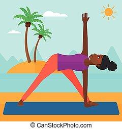 yoga., 女, 練習する