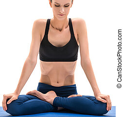 yoga., 浅黑型, 位置, 坐, 莲, 漂亮