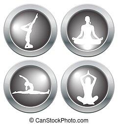 yoga, 2, ensemble, icône