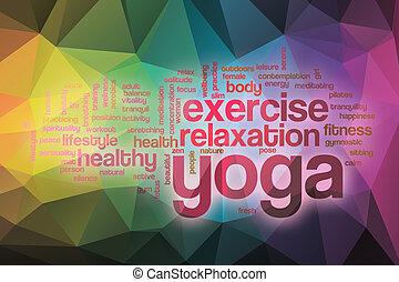 yoga, abstrakcyjny, słowo, chmura, tło