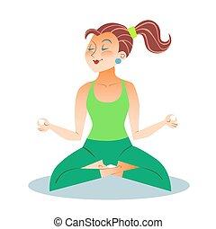 Yoga adult woman meditating