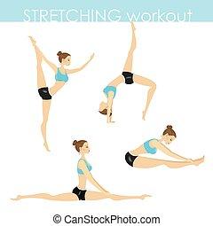 yoga, allenamento, stiramento, giovane, bella ragazza, pose, o