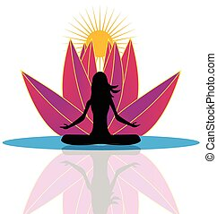 Yoga  and  lotus flower logo