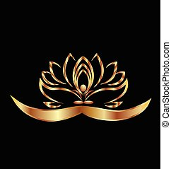 Yoga and lotus logo  - Gold Yoga lotus flower logo vector