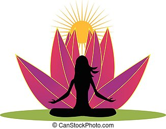 Yoga and pink lotus flower logo