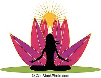 Yoga and pink lotus flower logo