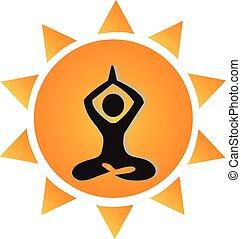 Yoga and sun logo
