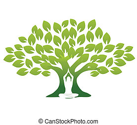 Yoga and tree - Woman in Yoga pose in front of tree