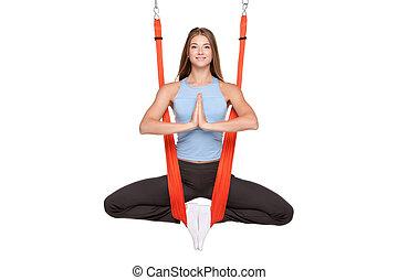 yoga, anti-gravity, mujer, aéreo, joven