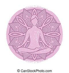yoga, asana, grunge, méditation, bannière, design.