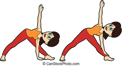 yoga asana set catcow illustration cartoon girl doing