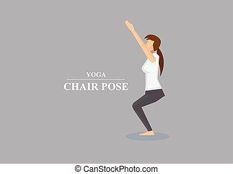 yoga, asana, silla, postura, vector, ilustración