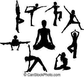 Yoga asana - woman in gym silhouette