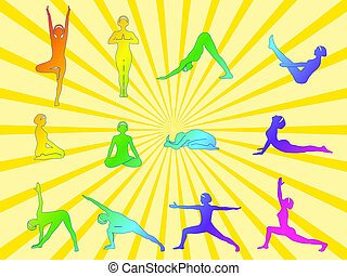 Yoga asanas - A set of twelve yoga asanas. Vector...